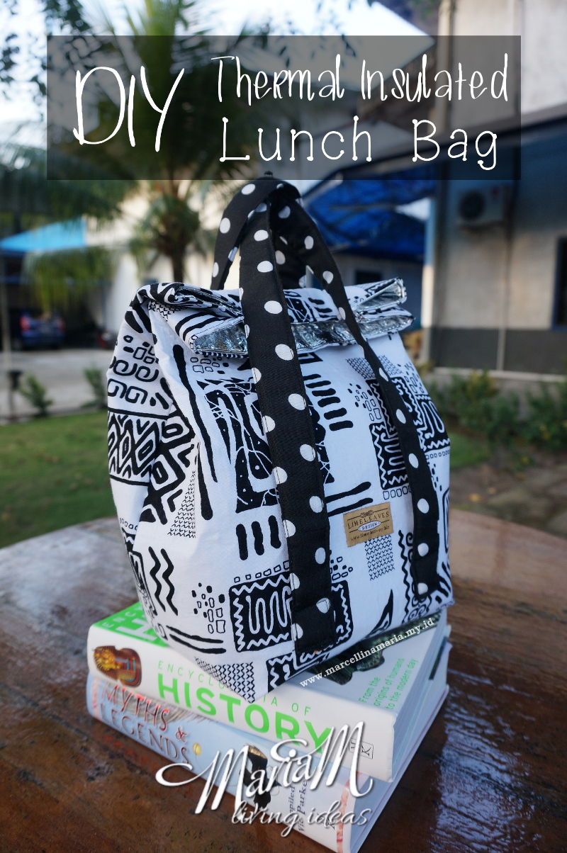 DIY thermal insulated lunch bag with recycled tin tie from coffee bags for back to school