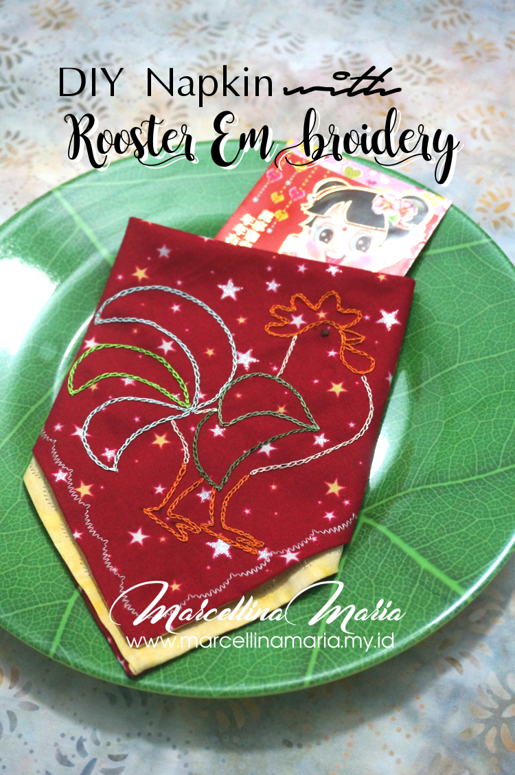 DIY napkin with rooster hand embroidery to celebrate chinese new year.